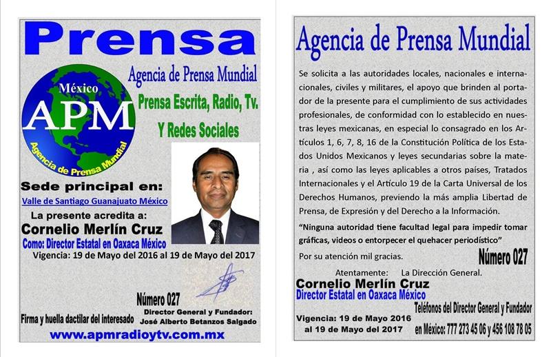 ACREDITACION OFICIAL DE DIRECTOR EN EL ESTADO DE OAXACA DE APM