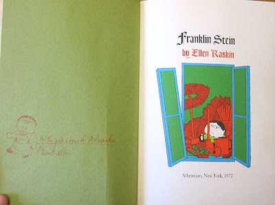 Title page of Franklin Stein with artist signature and art