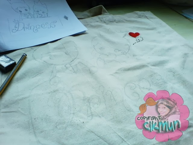 diy, diy tote bag, customize tote bag, tote bag, hias tote bag, tote bag comel, cute tote bag, princess tote bag, princess,