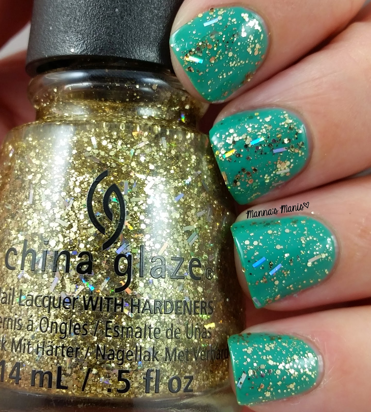 china glaze de-light, a gold glitter topper nail polish