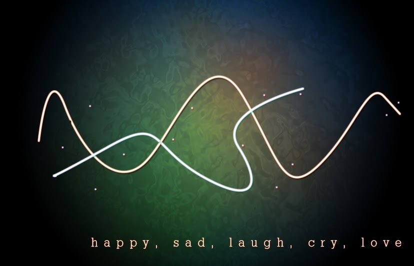 happy, sad, laugh, cry, love