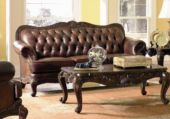 Traditional Dark Wood Sofa Leather Furniture Sets Elegant
