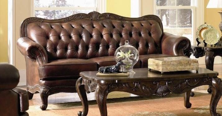 Traditional dark wood sofa leather furniture sets elegant for Elegant traditional living room furniture