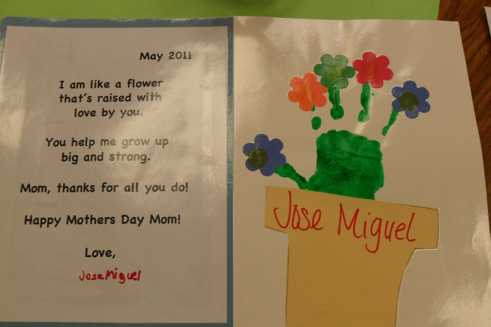 We also made these handprint/poem cards.