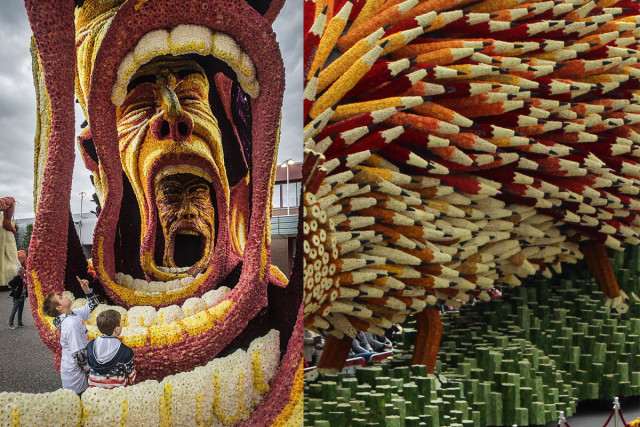Парад гигантских цветочных скульптур в Нидерландах