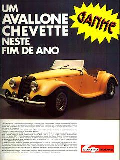 propaganda revista Quatro Rodas com Avallone Chevette - 1976. brazilian advertising cars in the 70. os anos 70. história da década de 70; Brazil in the 70s; propaganda carros anos 70; Oswaldo Hernandez;