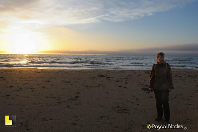valérie blachier sur la plage de Gruissan photo pascal blachier
