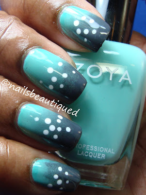 Gradient and Dots Nailart