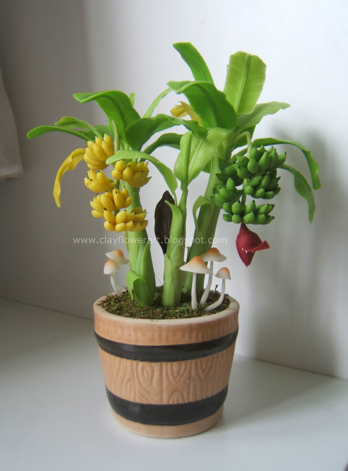 Miniature Banana Plant Clay Flower Art