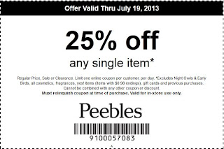 At Peebles, you can take advantage of amazing deals like this discount of an extra 40% on your online or in-store purchase. Don't pass up the savings! This coupon expired on 06/25/ CST.