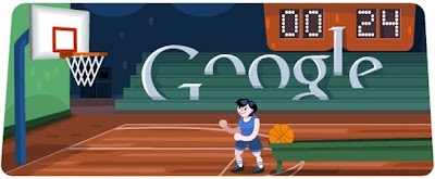 Olympics - London 2012 Basketball Google Doodle - August 7, 2012