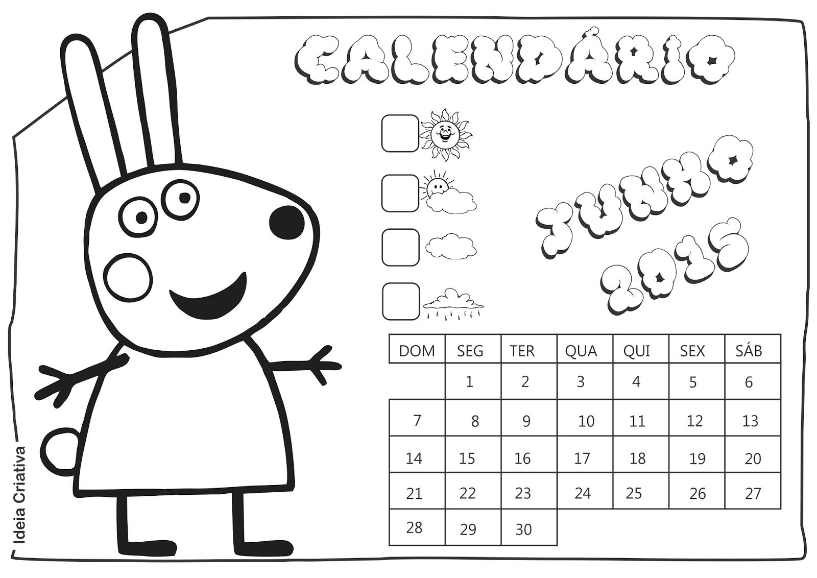 Calendário Junho 2015 Peppa Pig e Seus Amigos para Imprimir Grátis