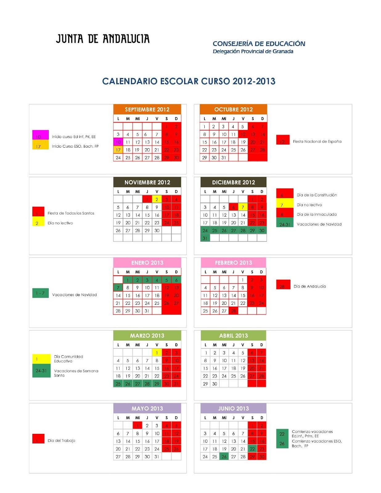 Calendario escolar 2012 13 junta de andaluc a el sexto nivel for Oficina junta de andalucia