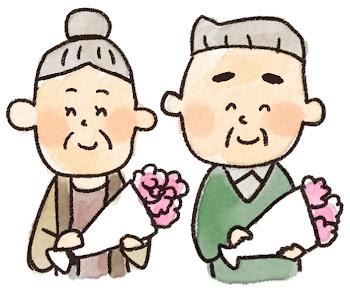 敬老の日のイラスト「花とおじいさん・おばあさん」