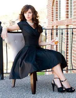 Black Mini Dress With Black Heel