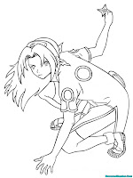 Mewarnai Gambar Pertarungan Sakura Naruto Shippuden