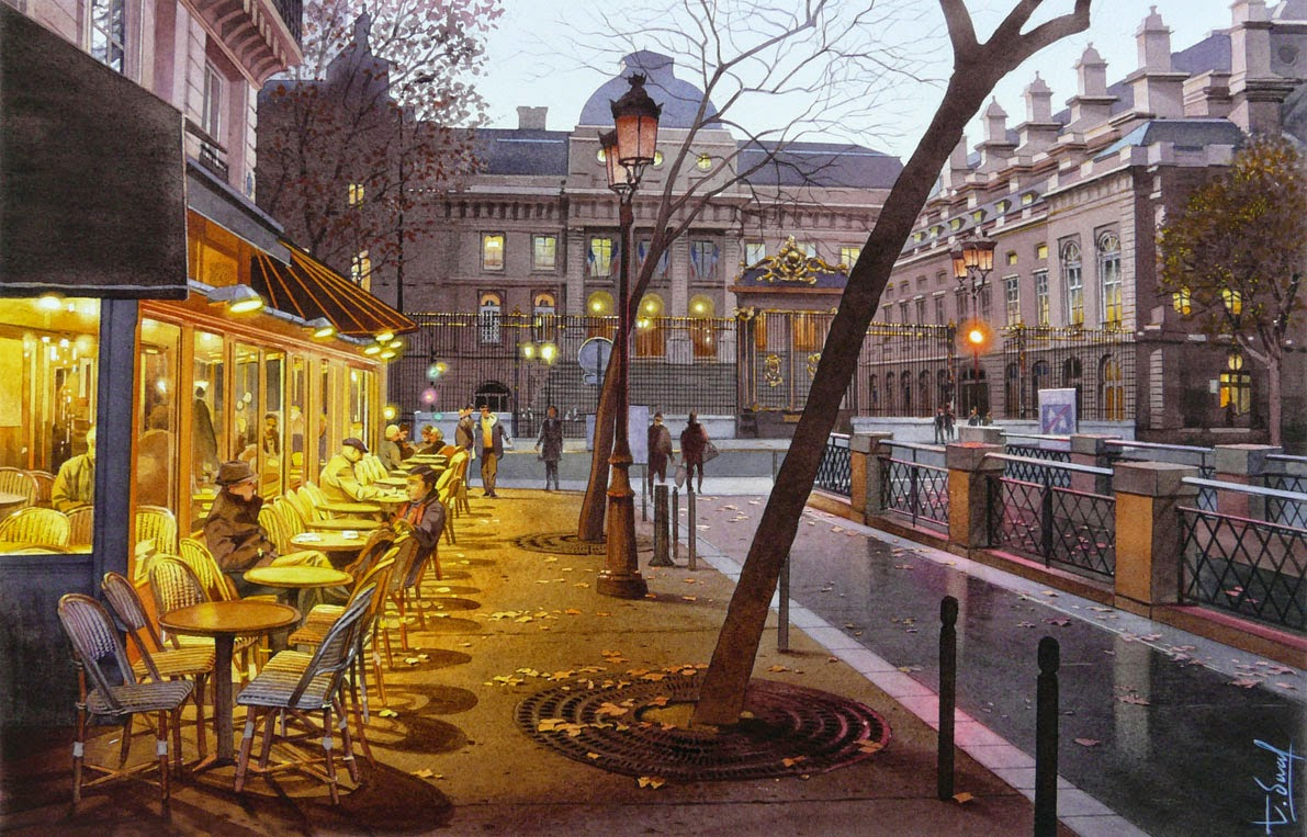 11-Palace-of-Justice-Thierry-Duval-Snippets-of Real-Life-in Watercolor-Paintings-www-designstack-co