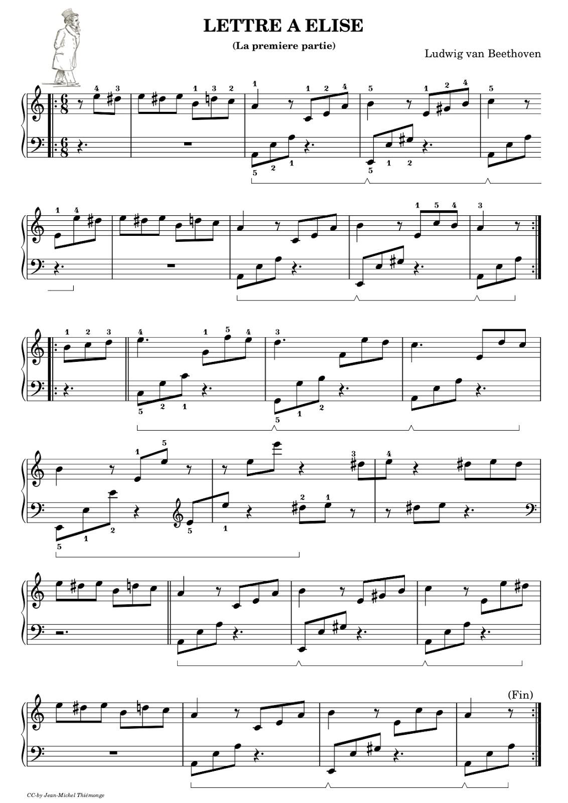 """Favori PIANO GNU: """"Lettre à Elise"""" Premiere partie JY55"""
