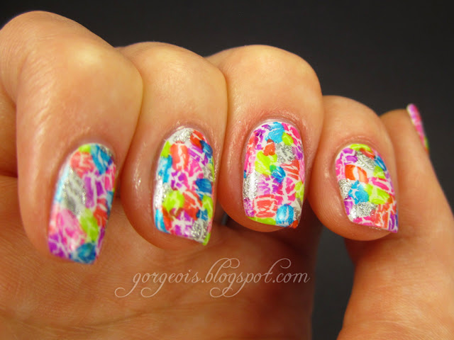 Shatter/Crackle Mosaic manicure with OPI My Boyfriend Scales Walls, OPI Silver Shatter, OPI Turquoise Shatter, Pure Ice Crackle Shattered, Pure Ice Crackle Crushed, Funky Fingers Neon Purple Crackle, Funky Fingers Neon Red-Orange Crackle, Funky Fingers Neon Pink Crackle