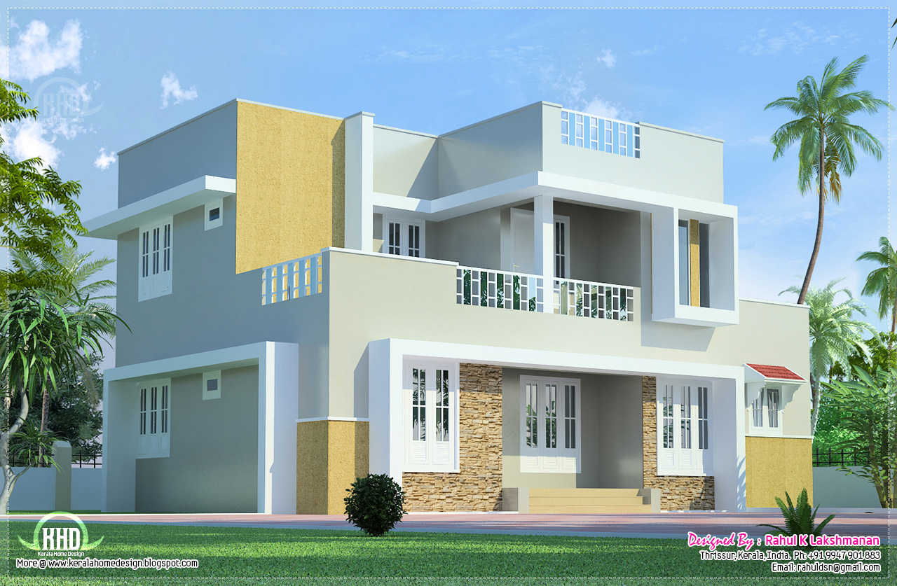 Beautiful 2 floor villa elevation in 1400 home for Two storey house design with floor plan with elevation