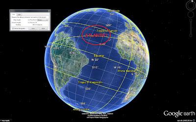 вид на Землю из космоса, расстояние 15000 км, место расположения Атлантиды, Гугл Земля, скриншот