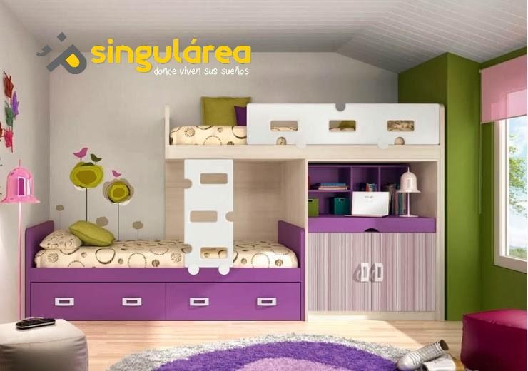 Litera tren juvenil con estudio 983 for Sofa cama para habitacion juvenil