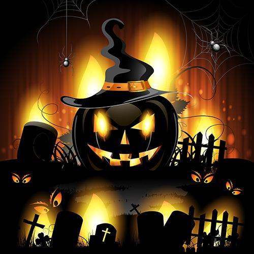 cementerio y calabazas de halloween 2.0 - vector