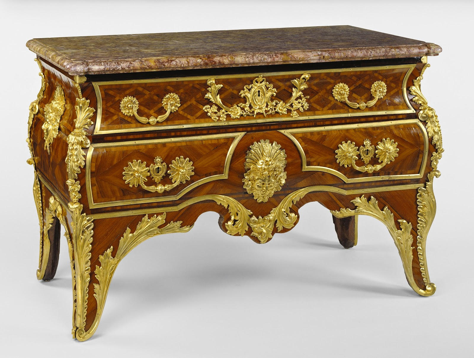 "Commode, Attributed to the Workshop of André-Charles Boulle and restored in the 1740s by Charles-Michel Cochois (French, died 1764, master 1734),about 1710 - 1715, Oak and fir veneered with cururu and bloodwood; gilt-bronze mounts; ""brocatelle violette du Jura"" marble top"