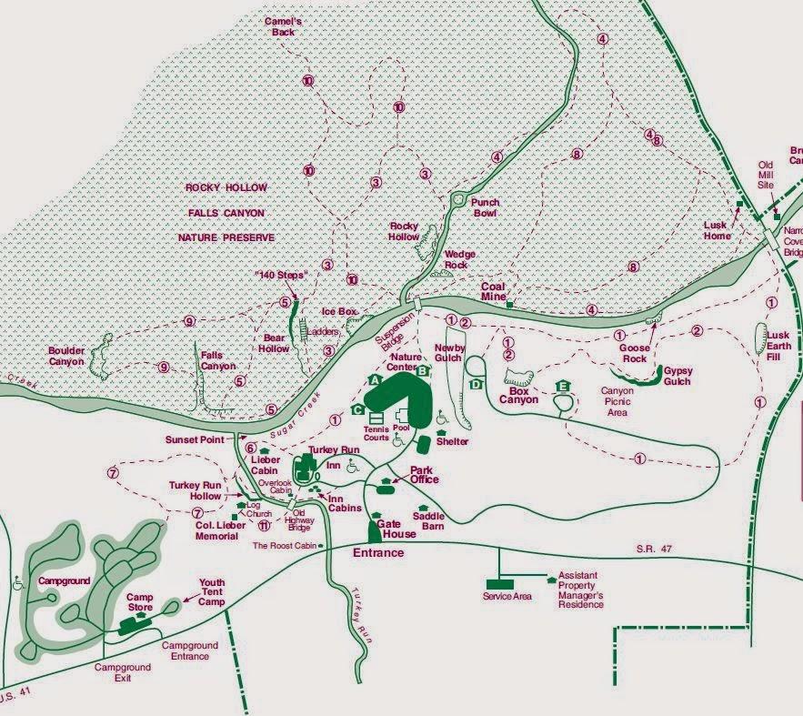 Mapa oficial que ofrecen al entrar al parque del Turnkey Run State Park