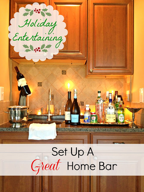 decor amore how to set up a home bar for the holiday 39 s. Black Bedroom Furniture Sets. Home Design Ideas