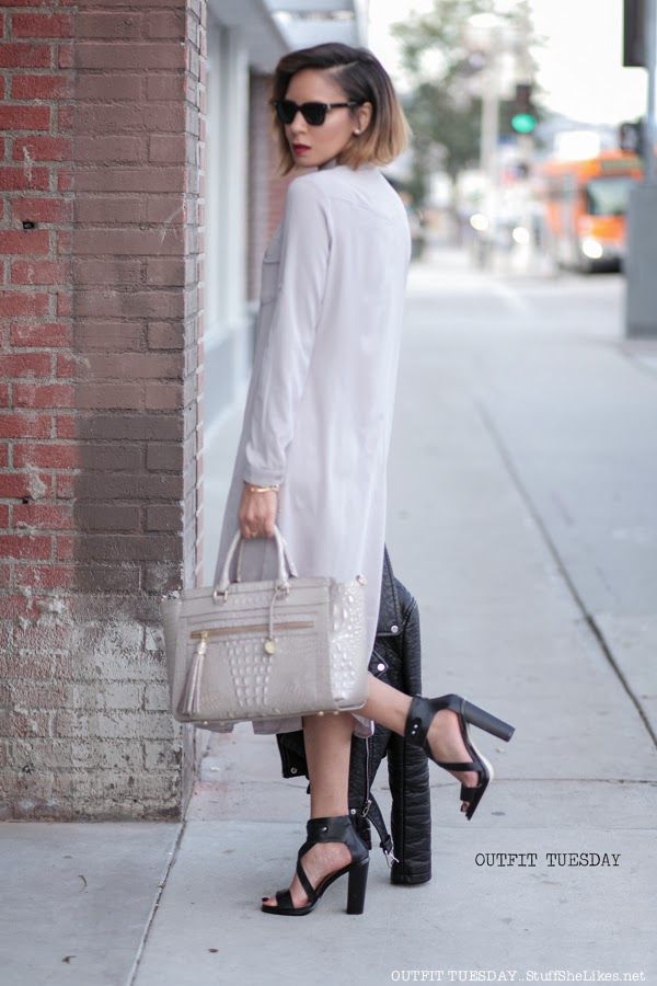 shirt dress, boohoo, black leather jacket. zara faux leather jacket. justfab, just fab sandals, chunky heel, Brahmin bags, grey, grey dress, warby parker, black fashion blog, top fashion blog, Top LA fashion Blog, Taye Hansberry, Stuff She Likes Blog, short hair