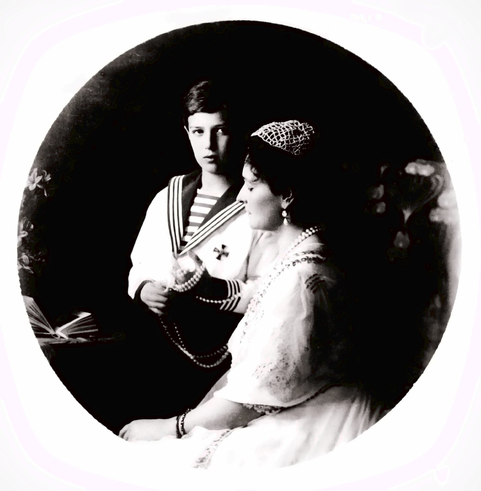 GRAND DUKE ALEXEI ROMANOV AND MOTHER ALEXANDRA