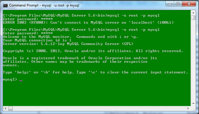 MysqlStartedSuccessfully ERROR 2003 (HY000): Cant connect to MySQL server on localhost (10061)