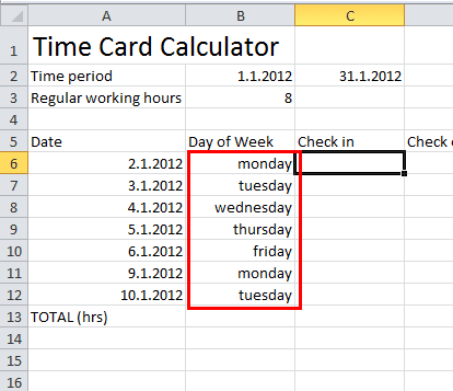 Time card calculator excel tutorial download free excel for Template to calculate hours worked