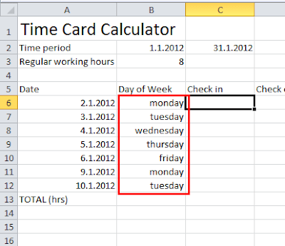 Time card calculator Excel tutorial - weekdays