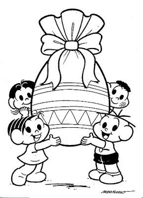 Desenho de Páscoa com a Turma da Mônica para colorir
