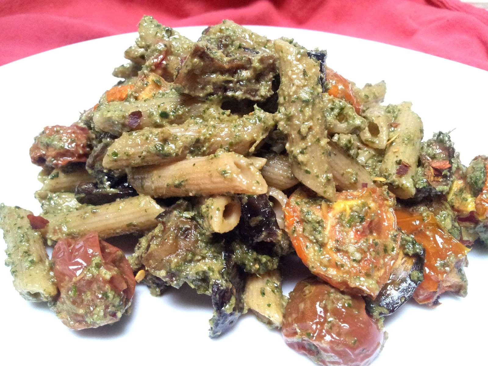 red or green?Roasted Eggplant  Tomato Pasta with Spicy Carrot
