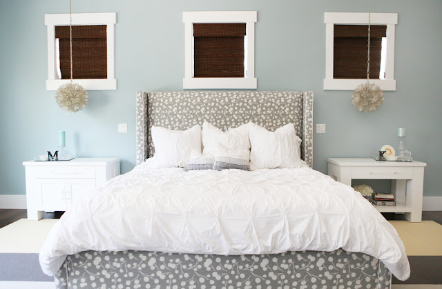 Brooke Jones Designs Modern Bedroom Custom Designed Upholstered Bed Thom Filicia Burnett Fabric Pottery Barn Capiz Pendant