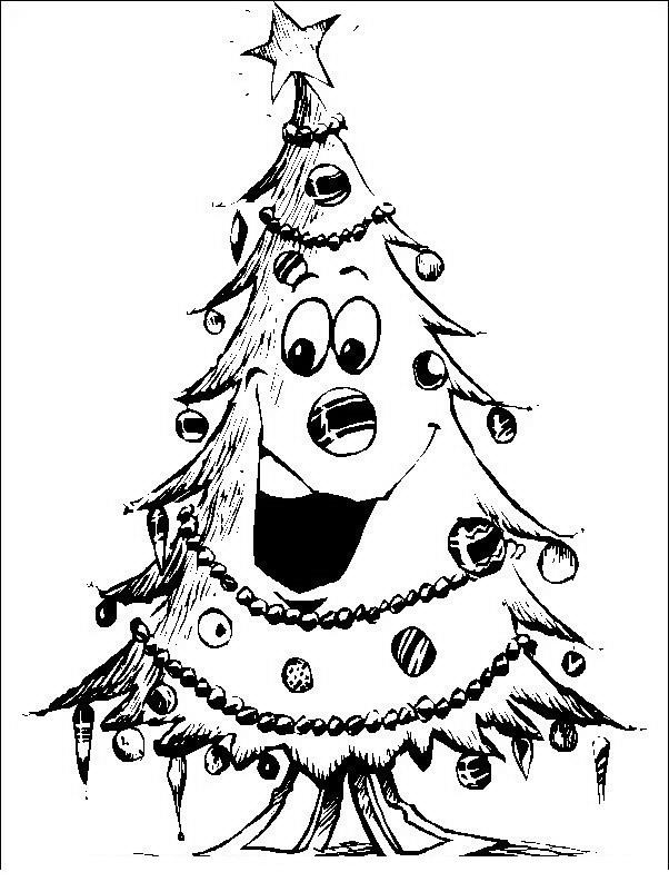 Árbol navideño sonriendo para colorear y pintar ~ Colorea el dibujos