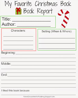 My Favorite Christmas Book - Book Report Printable