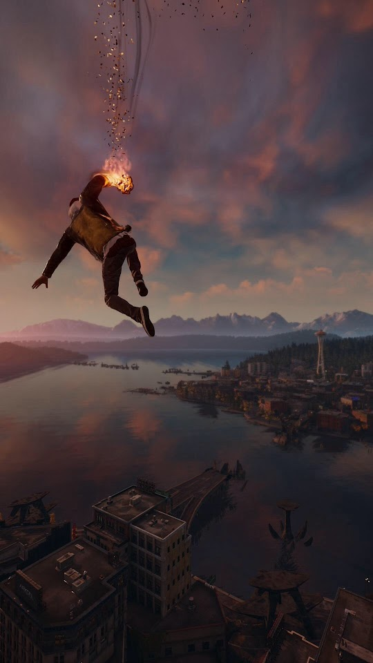 Infamous Second Son Smoke Ability City View  Galaxy Note HD Wallpaper