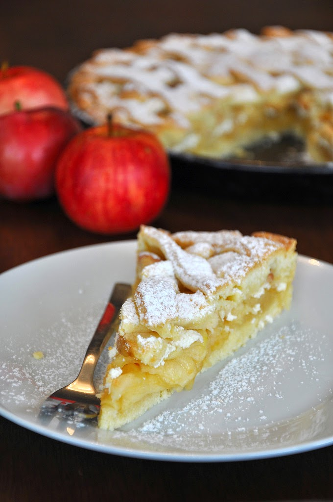 Jablkový mrežovník s tvarohom, medom a vanilkou