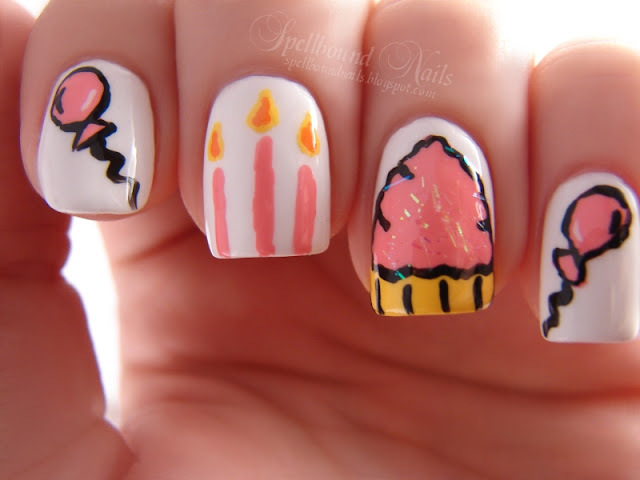 nails nailart nail art polish mani manicure Spellbound H is for Happy Birthday ABC Challenge balloons cutepolish candles cupcake pink Sinful Colors Snow Me White Beautiful Girl girly