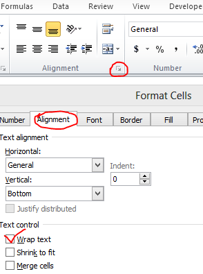 Wrap Text Under Alignment in Home Tab