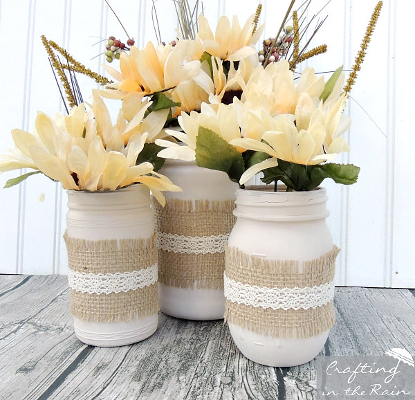 Fall Jars With Dollar Store Flowers Crafting In The Rain