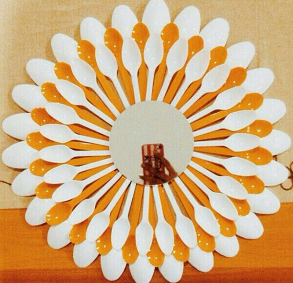 Diy cermin unik dari sendok sendok bekas 7 sendok kecil putihnya di tempel di depan sendok jol 8 tempel kaca kacanya di atas sendok sendok tadi daaan jadiii thecheapjerseys Gallery