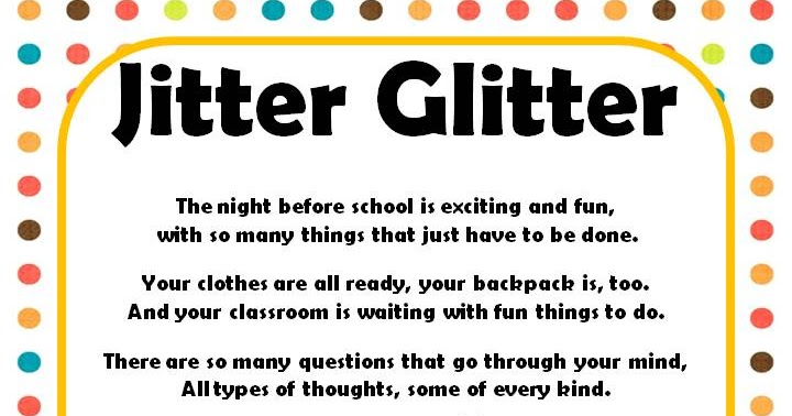 graphic regarding Jitter Glitter Poem Printable named We comprise moved~ Ms. Frederichs 2nd Quality: To start with Working day Jitters!