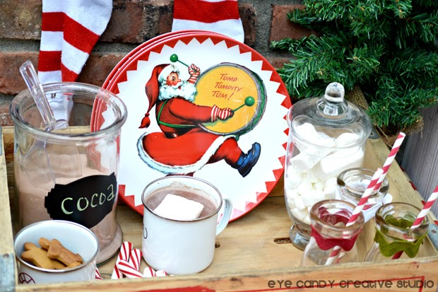 cocoa bar for the night before christmas, santa plates