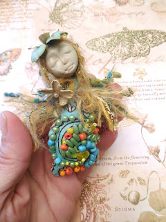 Aster a Handmade Beaded Miniature Folk Art Doll for Luck in Love