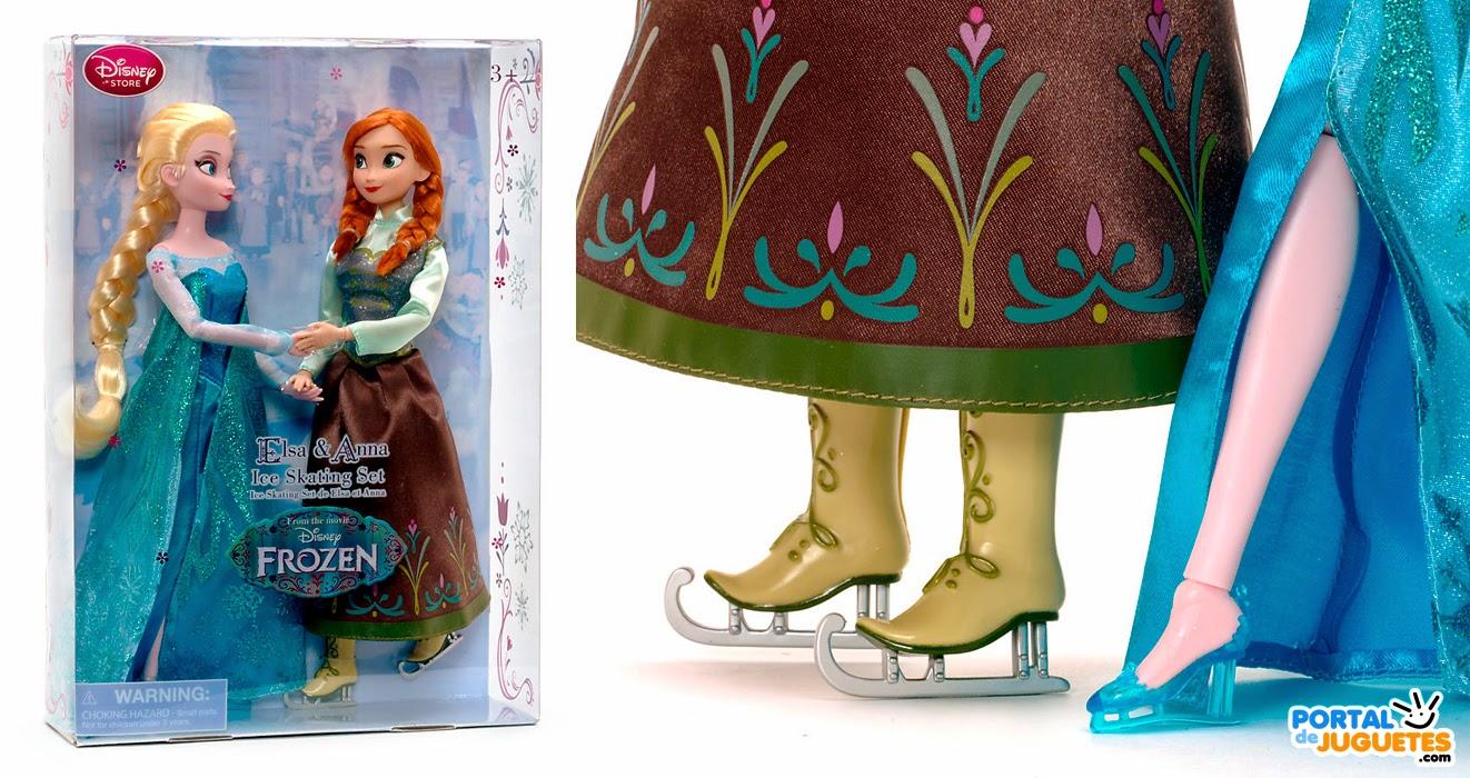 set muñecas elsa anna patinadoras frozen caja